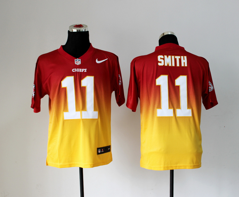 Kansas City Chiefs 11 Alex Smith Red Yellow Nlike Drift Fashion II Elite Jerseys