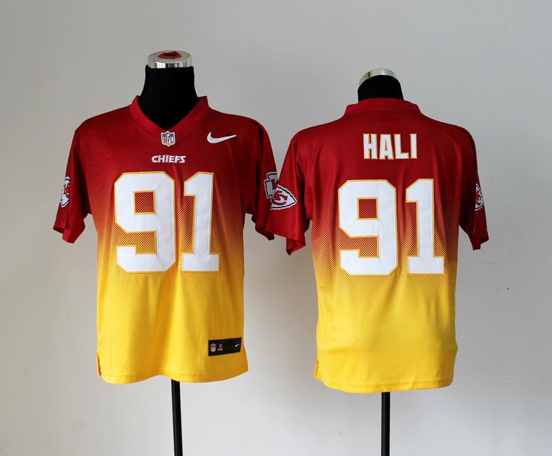Kansas City Chiefs 91 Tamba Hali Red Yellow Nlike Drift Fashion II Elite Jerseys