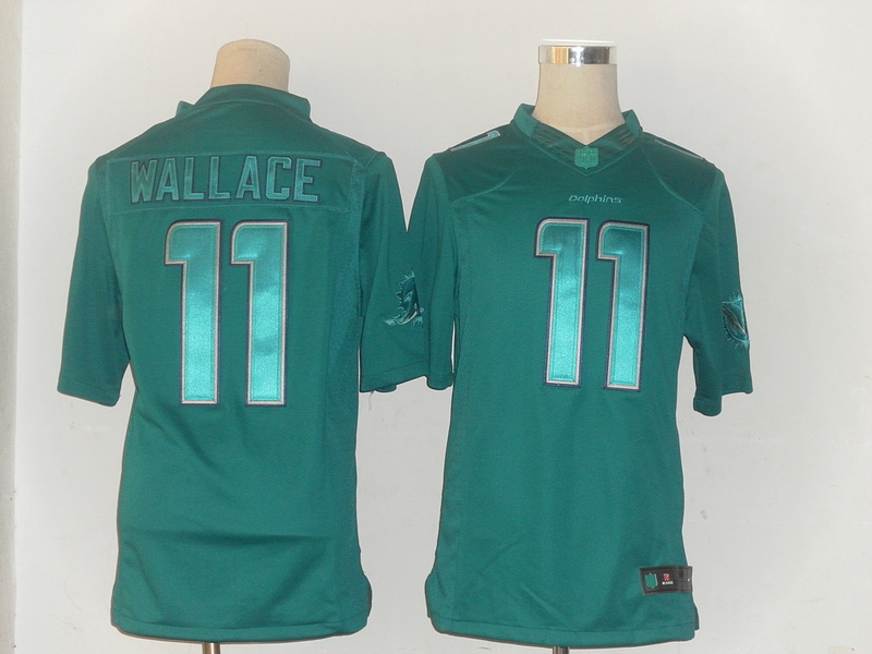 Miami Dolphins 11 Mike Wallace Green Nike Limited Drenched Jersey