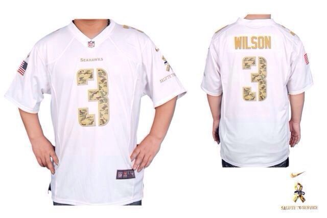 vSeattle Seahawks 3 Russell Wilson White With Camo Number Nike Game Jersey