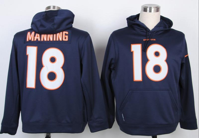 Nike NFL Nike Denver Broncos 18 Peyton Manning Blue Hoody
