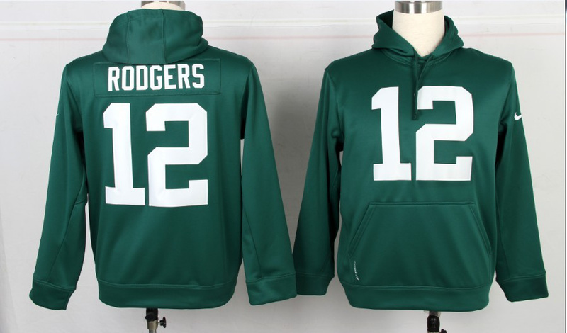 Nike NFL Green Bay Packers 12 Aaron Rodgers Green Hoodie