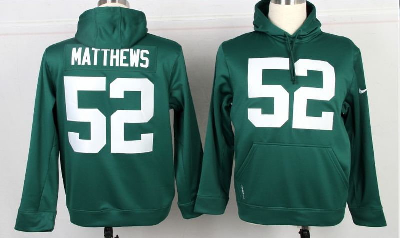 Nike NFL Green Bay Packers 52 Clay Matthews Green Hoodie