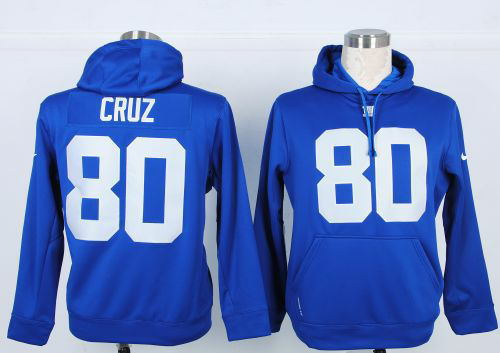 Nike NFL New York Giants 80 Victor Cruz Blue Hoodie