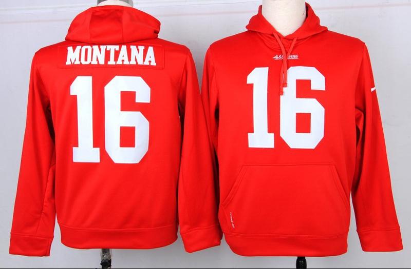 Nike NFL San Francisco 49ers 16 Joe Montana Red Hoodie