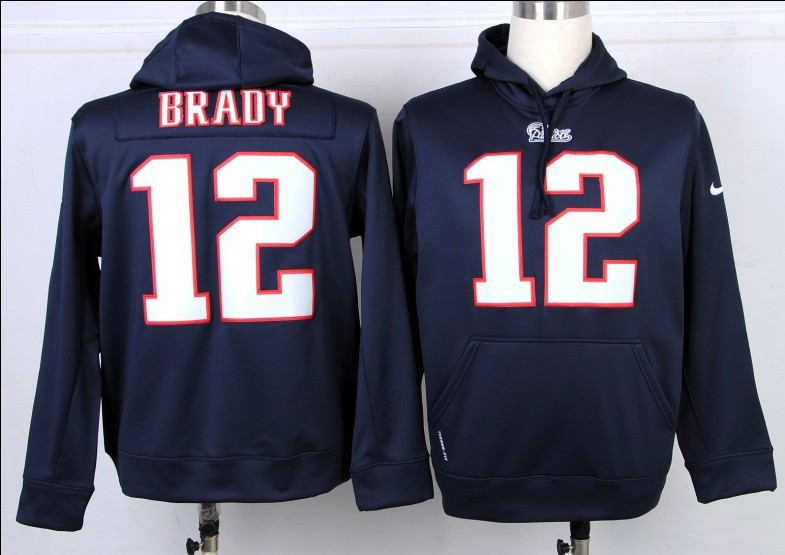 Nike NFL New England Patriots 12 Tom Brady Blue Hoodie