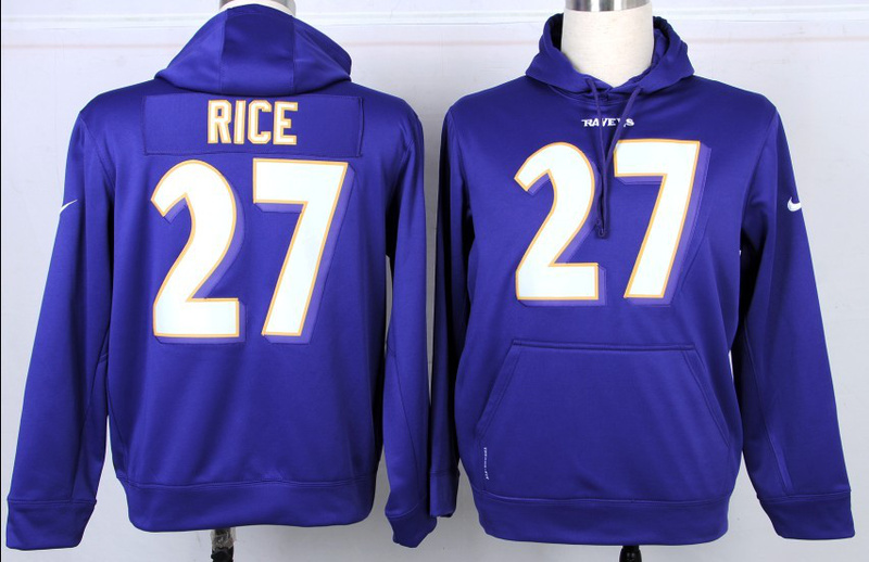 Nike NFL Baltimore Ravens 27 Ray Rice Purple Hoodie