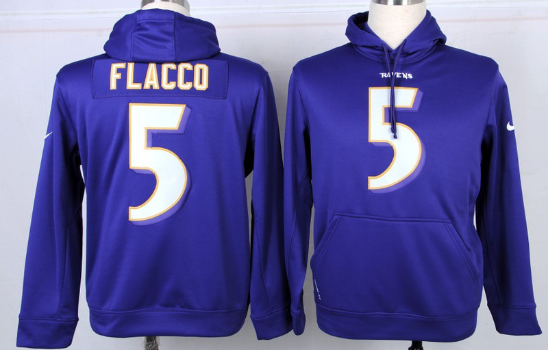 Nike NFL Baltimore Ravens 5 Joe Flacco Purple Hoodie