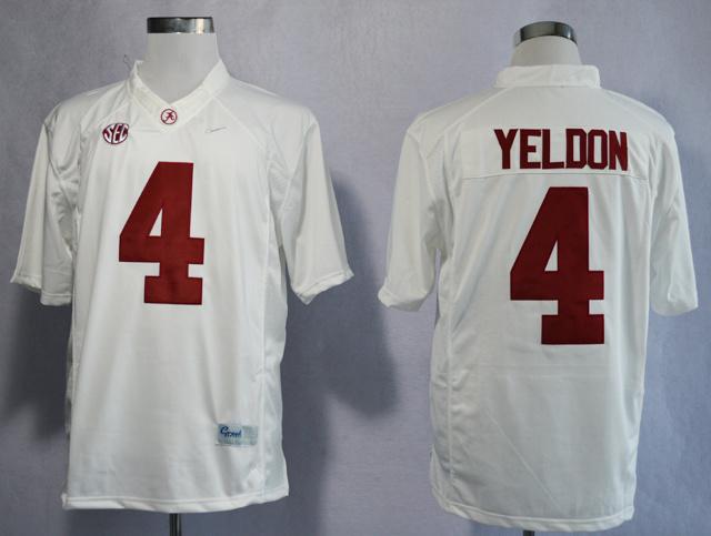 NCAA Alabama Crimson Tide 4 T.J Yeldon White College Football Limited Jerseys