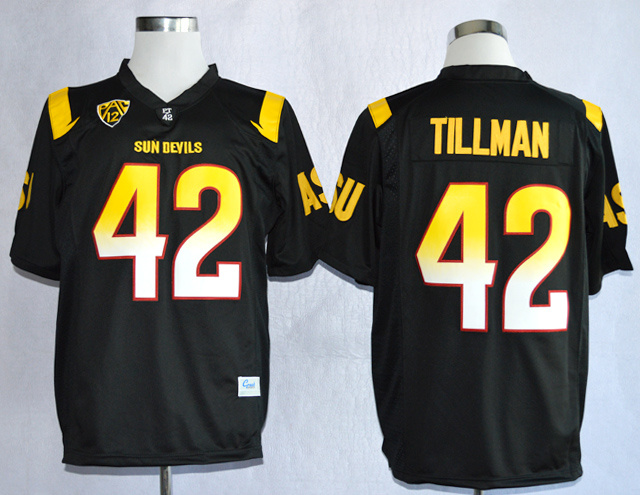 NCAA Arizona State Sun Devis ASU 42 Pat Tillman Black College Football Jerseys