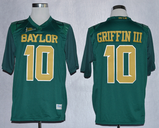 NCAA Baylor Bears Lache 10 Rebort Griffin III Green College Football Jerseys