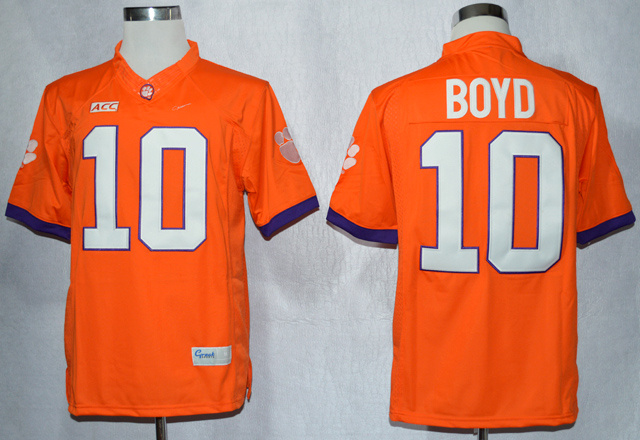 NCAA Clemson Tigers 10 Tajh Boyd Orange College Football Limited Jerseys