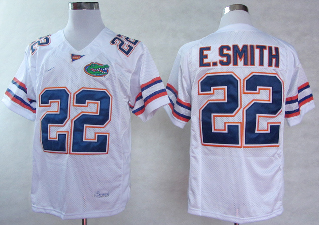 NCAA Florida Gators 22 E.Smith White College Football Jerseys