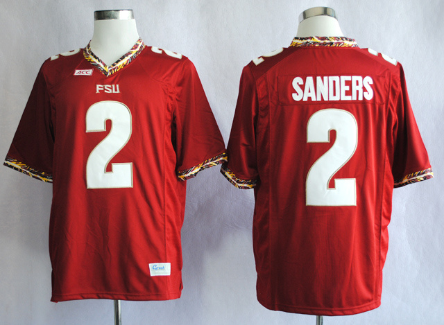 NCAA Florida State Seminoles FSU 2 Deion Sanders Red College Football Jerseys