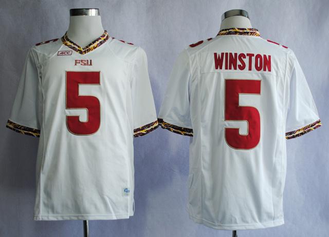 NCAA Florida State Seminoles FSU 5 Jameis Winston White College Football Jerseys