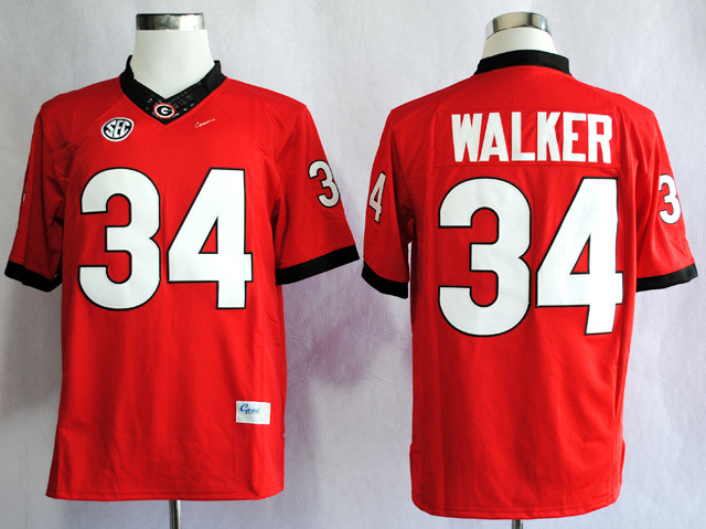 NCAA Georgia Bulldogs 34 Herchel Walker Red College Football Limited Jerseys