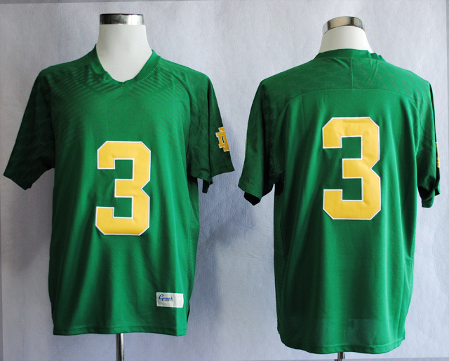 NCAA Notre Dame Fighting Irish 3 Joe Montana Green Techfit College Football Jersey