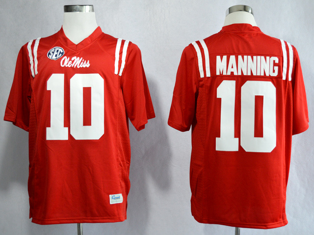 NCAA Ole Miss Rebels 10 Eli Manning Red College Football Jerseys
