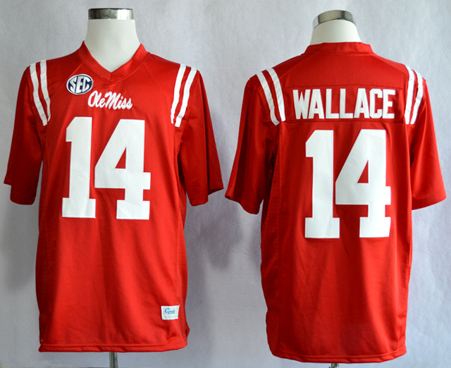 NCAA Ole Miss Rebels 14 Bo Wallace Red College Football Jerseys
