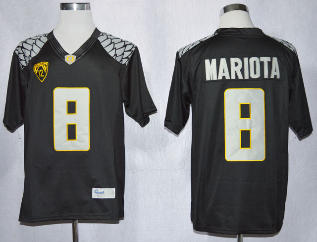 NCAA Oregon Duck 8 Marcus Mariota Black College Football Limited Jerseys