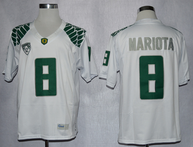 NCAA Oregon Duck 8 Marcus Mariota White College Football Limited Jerseys