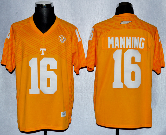 NCAA Tennessee Volunteers 16 Peyton Manning Orange College Football Techfit Jersey