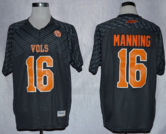 NCAA Tennessee Volunteers 16 Peyton Manning Smokey Grey College Football Techfit Jersey