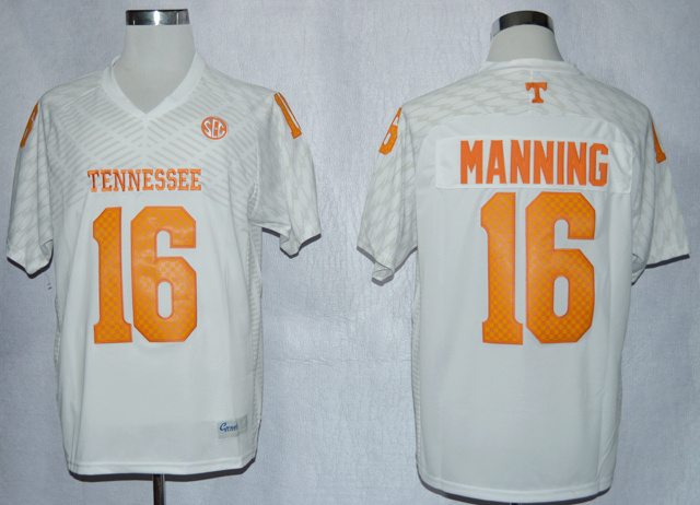 NCAA Tennessee Volunteers 16 Peyton Manning White College Football Techfit Jersey