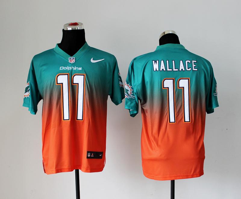 Miami Dolphins 11 Mike Wallace Green Orange Nike Drift Fashion II Elite Jerseys