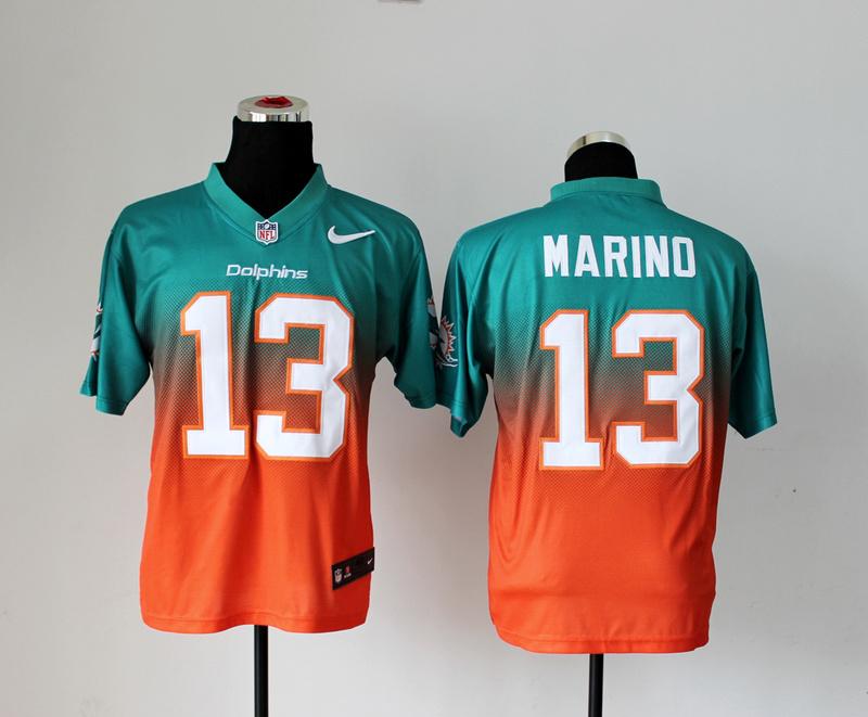 Miami Dolphins 13 Marino Green Orange Nike Drift Fashion II Elite Jerseys