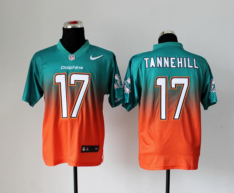 Miami Dolphins 17 Tannehill Green Orange Nike Drift Fashion II Elite Jerseys