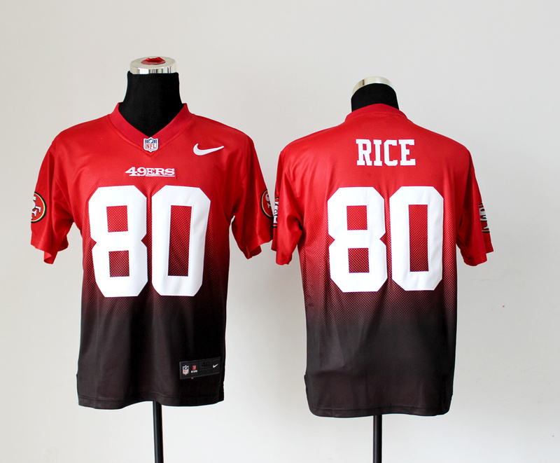 San Francisco 49ers 80 Rice Red Brown Nike Drift Fashion II Elite Jerseys
