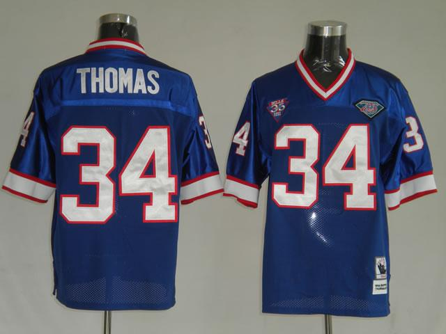 Buffalo Bills 34 Thurman Thomas blue Throwback Jerseys