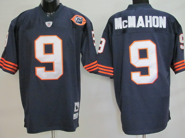 Chicago Bears 9 McMAHON throwback Blue With Big Number NFL Jersey