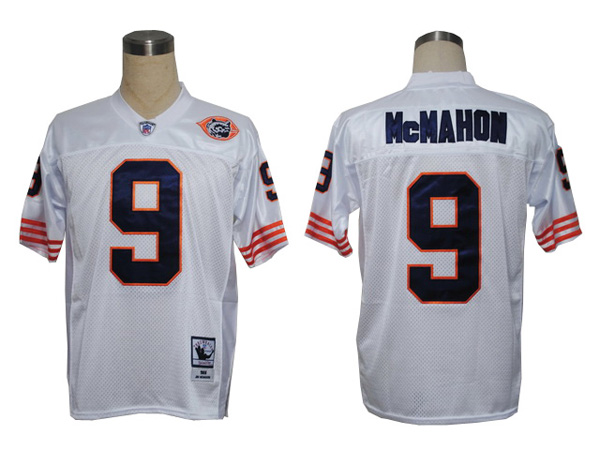 Chicago Bears 9 McMAHON throwback White With Big Number NFL Jersey