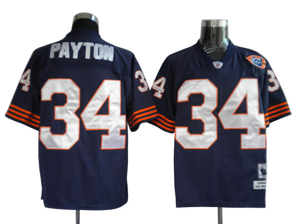 Chicago Bears 34 PAYTON throwback MitchellNess Blue With Big Number NFL Jersey