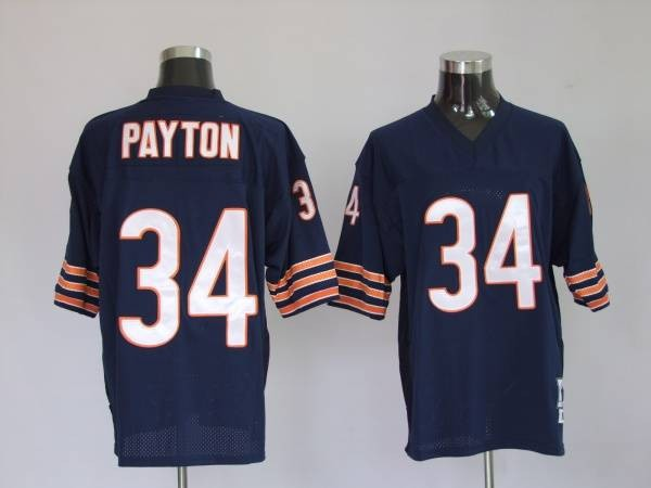 Chicago Bears 34 PAYTON throwback MitchellNess Blue With Small Number NFL Jersey