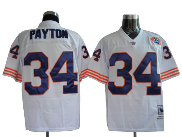 Chicago Bears 34 PAYTON throwback white With Bigh Number NFL Jersey