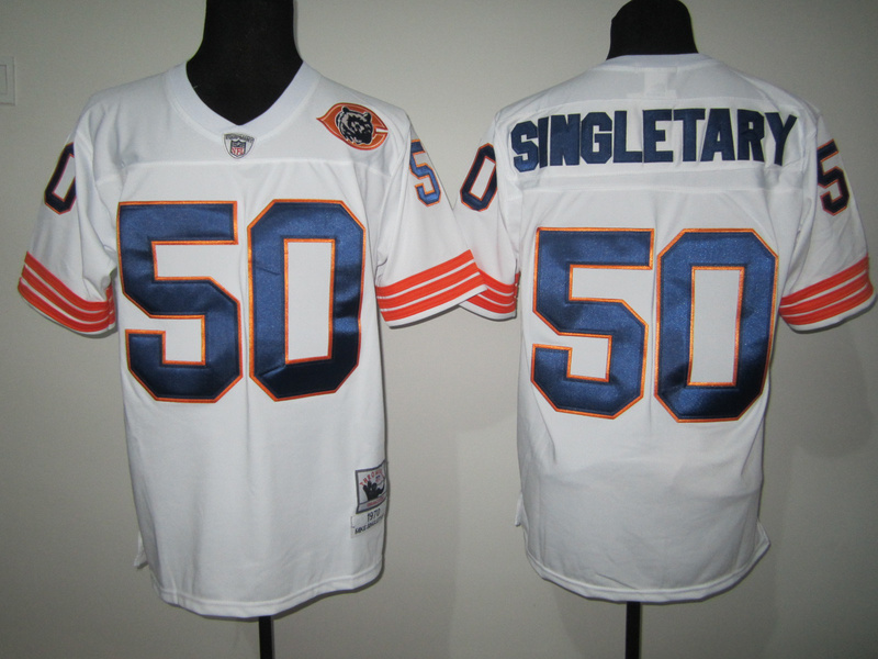 Chicago Bears 50 SINGLETARY throwback white NFL Jersey