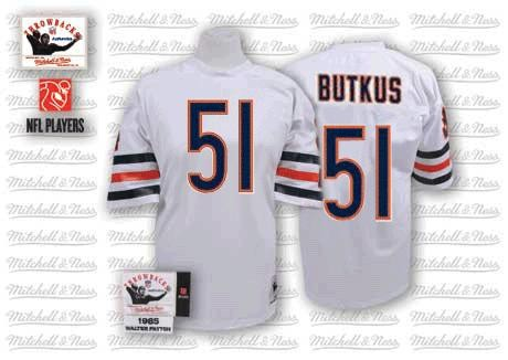 Chicago Bears 51 BUTKUS throwback white NFL Jersey