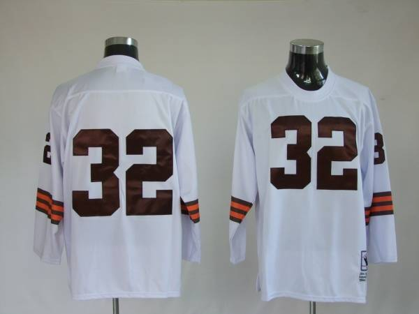 Cleveland Browns 32 JIM BROWNS White Throwback Mitchell And Ness Long Sleeve NFL Jersey