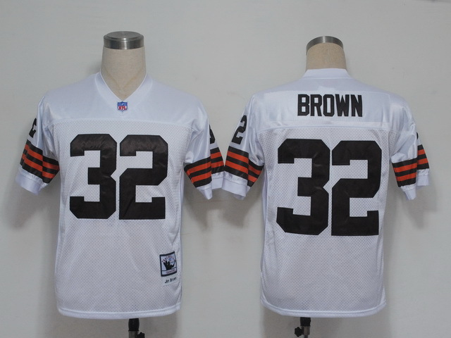 Cleveland Browns 32 JIM BROWNS White Throwback Mitchell And Ness NFL Jersey