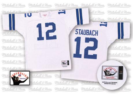 Dallas Cowboys 12 Staubach White Throwback Mitchell And Ness NFL Jersey