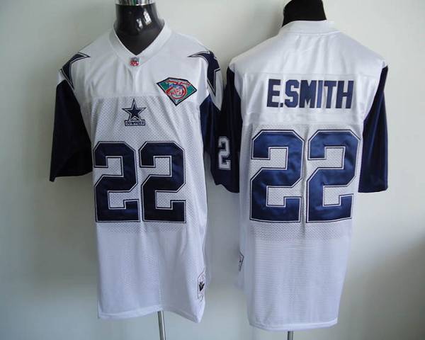 Dallas Cowboys 22 E Smith White 75th Throwback Mitchell And Ness NFL Jersey