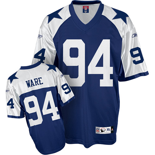 Dallas Cowboys 94 Ware Blue thanksgiving Throwback Mitchell And Ness NFL Jersey