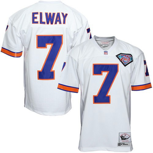 Denver Broncos 7 John Elway White Throwback Mitchell And Ness NFL Jersey