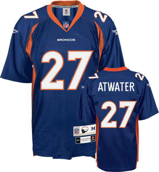 Denver Broncos 27 Steve Atwater Blue Throwback Mitchell And Ness NFL Jersey