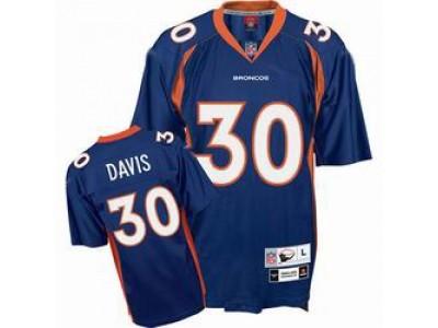 Denver Broncos 30 Terrell Davis Blue Throwback Mitchell And Ness NFL Jersey