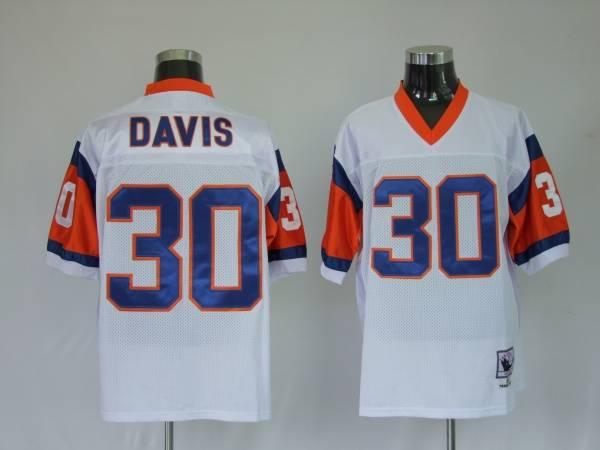 Denver Broncos 30 Terrell Davis White Throwback Mitchell And Ness NFL Jersey