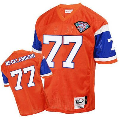 Denver Broncos 77 Karl Mecklenburg Orange Throwback Mitchell And Ness NFL Jersey